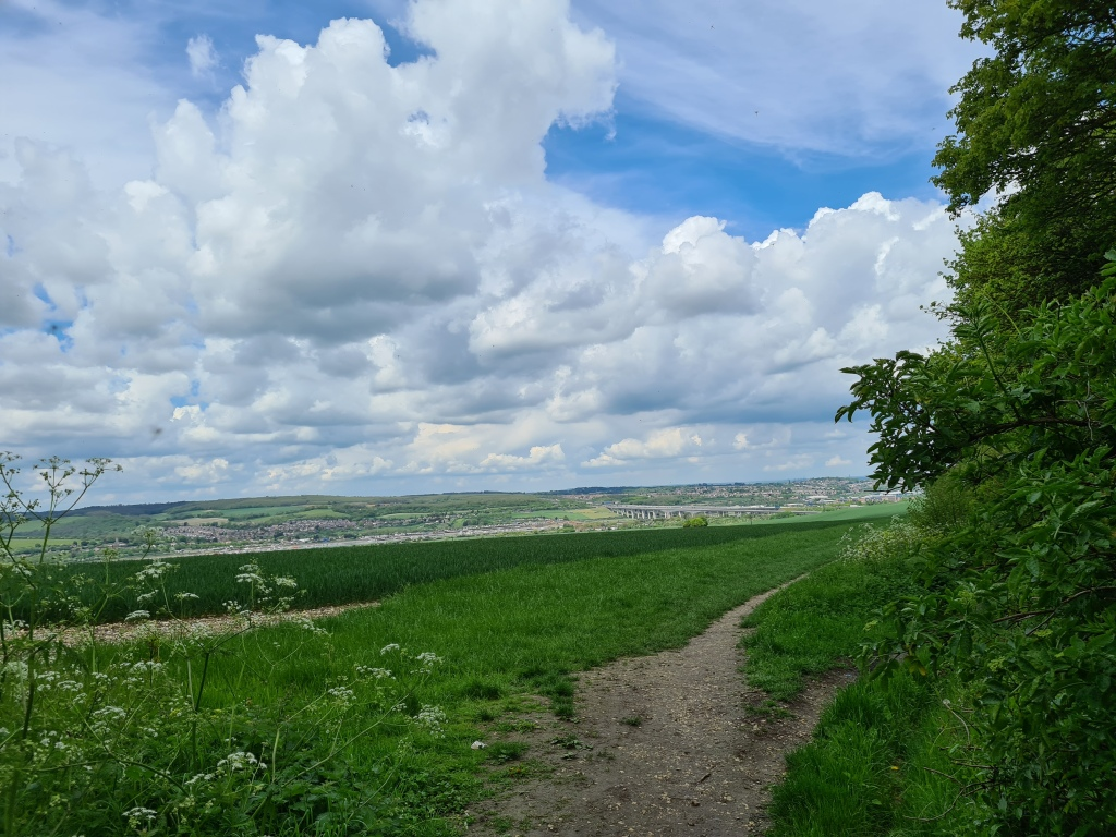 Looking northward on the North Downs Way/Medway Valley Walk, with M2 and 'new' High Speed Channel Tunnel railway crossings of the River Medway below