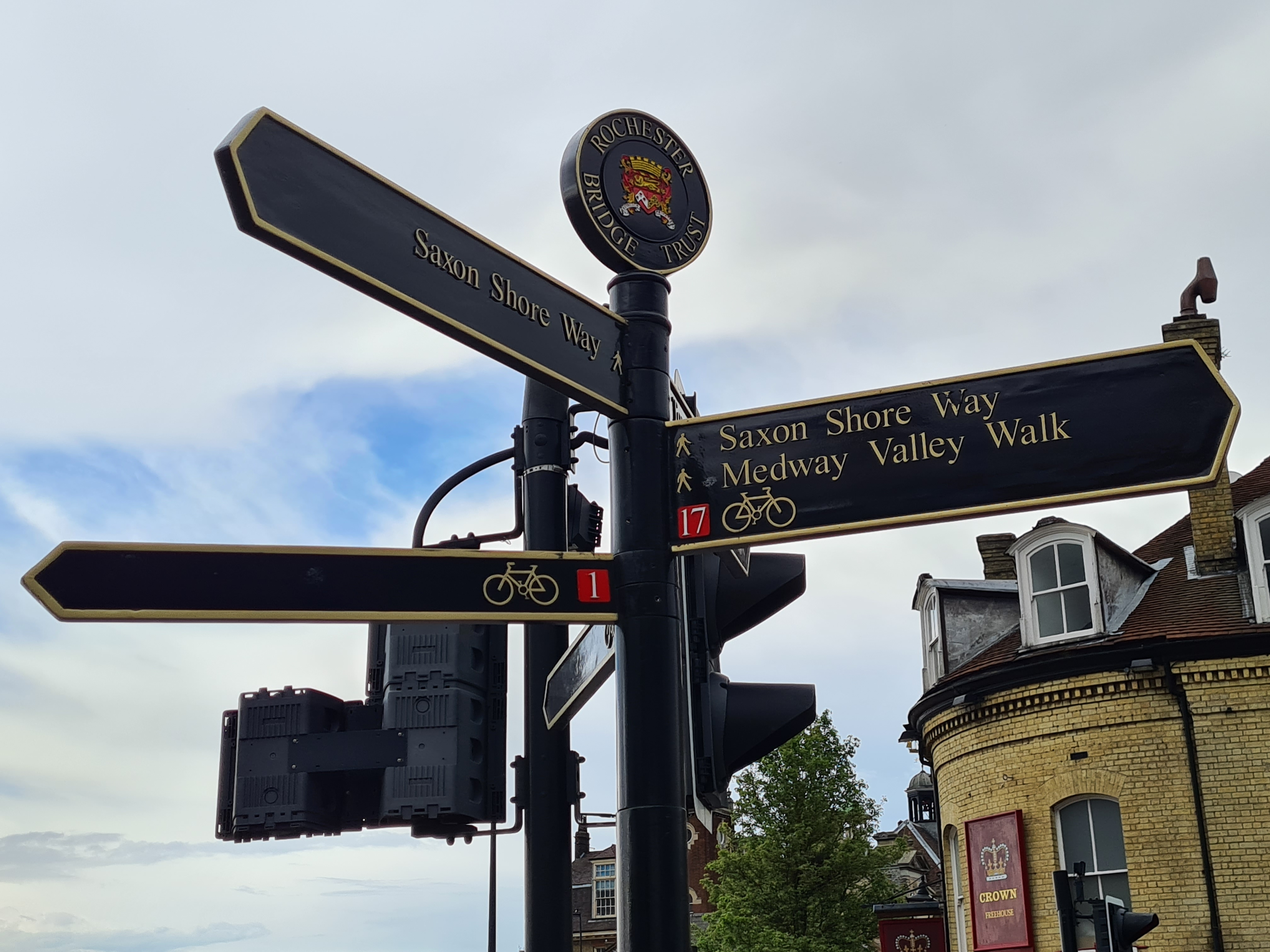 Trail signage for both Saxon Shore Way and the end (or beginning) of the Medway Valley Walk at Rochester bridge