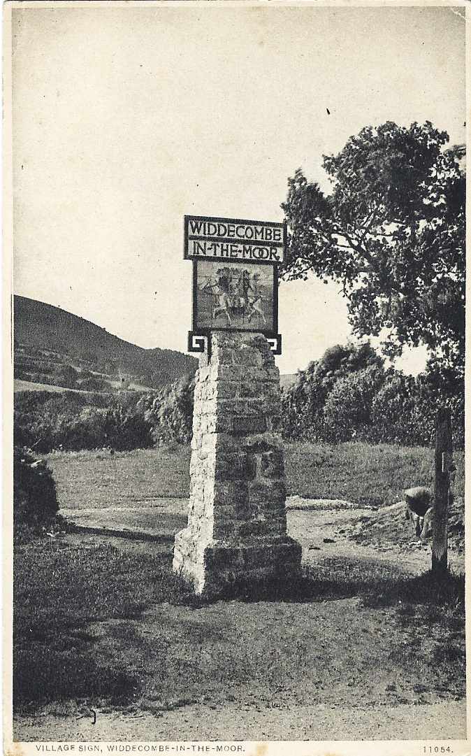 "Village signs became a popular subject for picture postacrds. Almost a way of putting a pin in a map and telling someone- ""this is where I am"". The village sign at Widdecombe-in-the-Moor was one of the original prizewinners in 1920. Postcard postally used in April 1928"