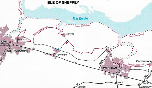 Swale Heritage Trail is an easy days walk between Sittingbourne and Goodnestone