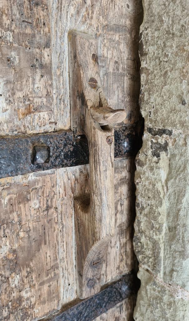 Wooden door handle and latch to Graveney church, sadly the door was locked today