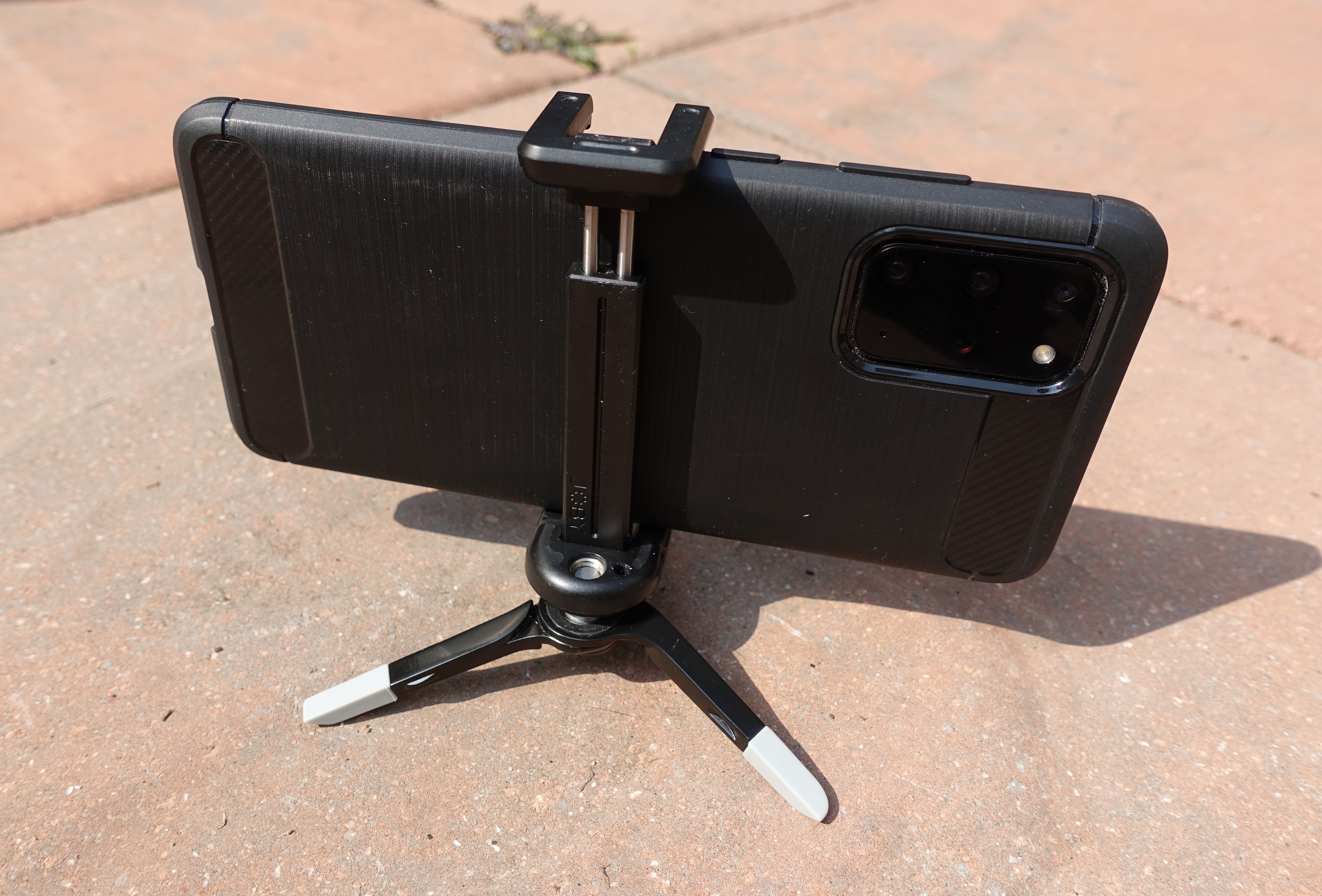 My previous set up for supporting my phone. Joby Grip Tight phone  combined with the Joby Micro tripod. This gives a very low profile that can get a little lost in vegetation. I was also often apprehensive about how well the phone was being gripped