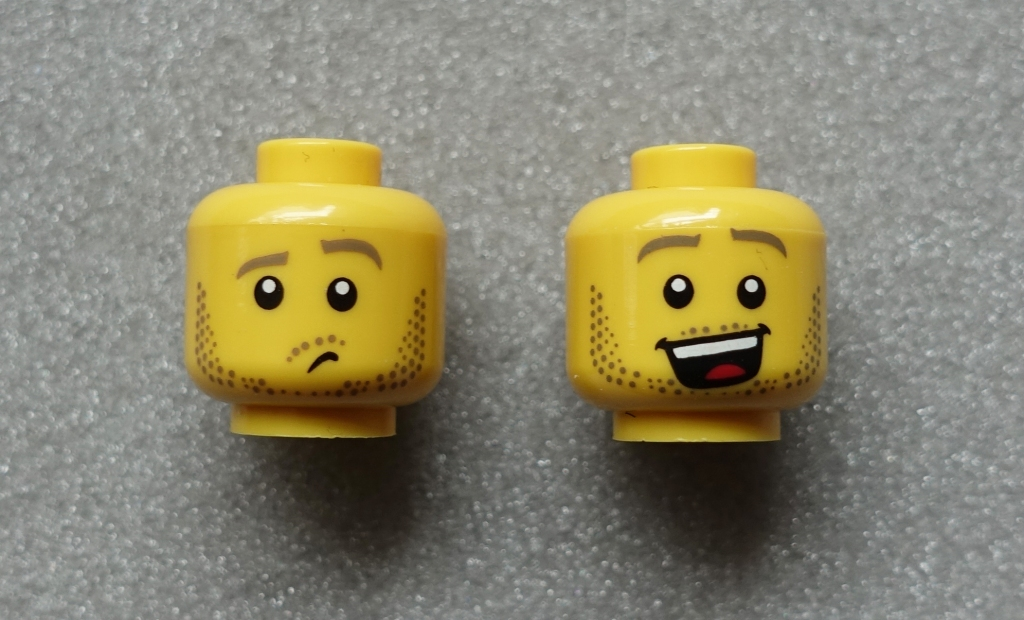 One of two facial expressions can be choseen for Lego Hiker