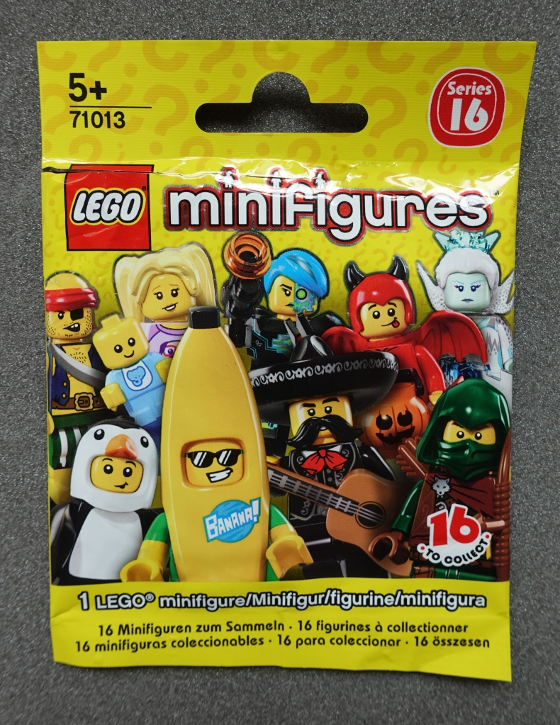 Lego 'Blind Bag' for Series 16 minigures. The contents of this bag were unknown until opened