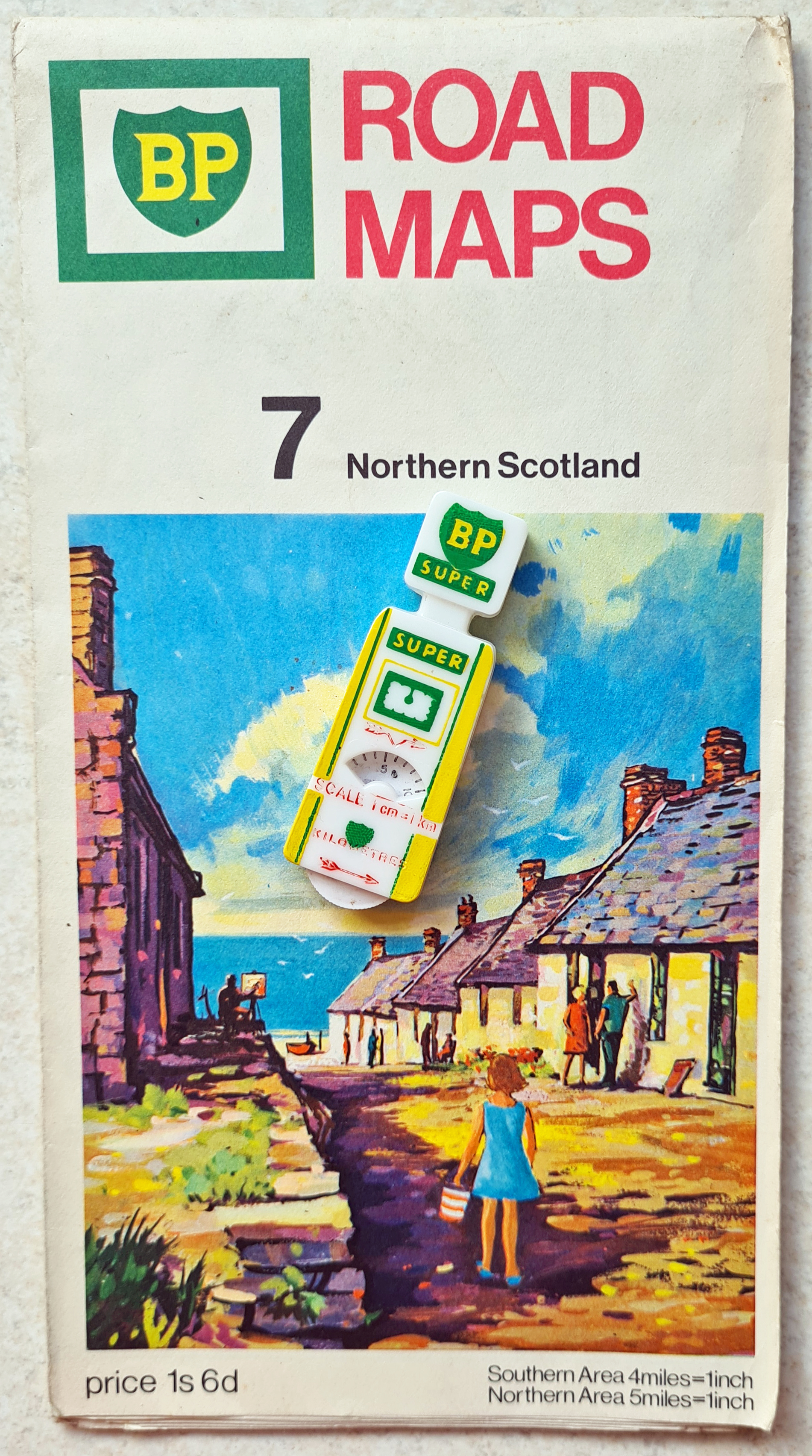 BP Super measure with BP Road Map number 7, covering Northern Scotland. Mapmaker- George Philip & Son Ltd. 1968