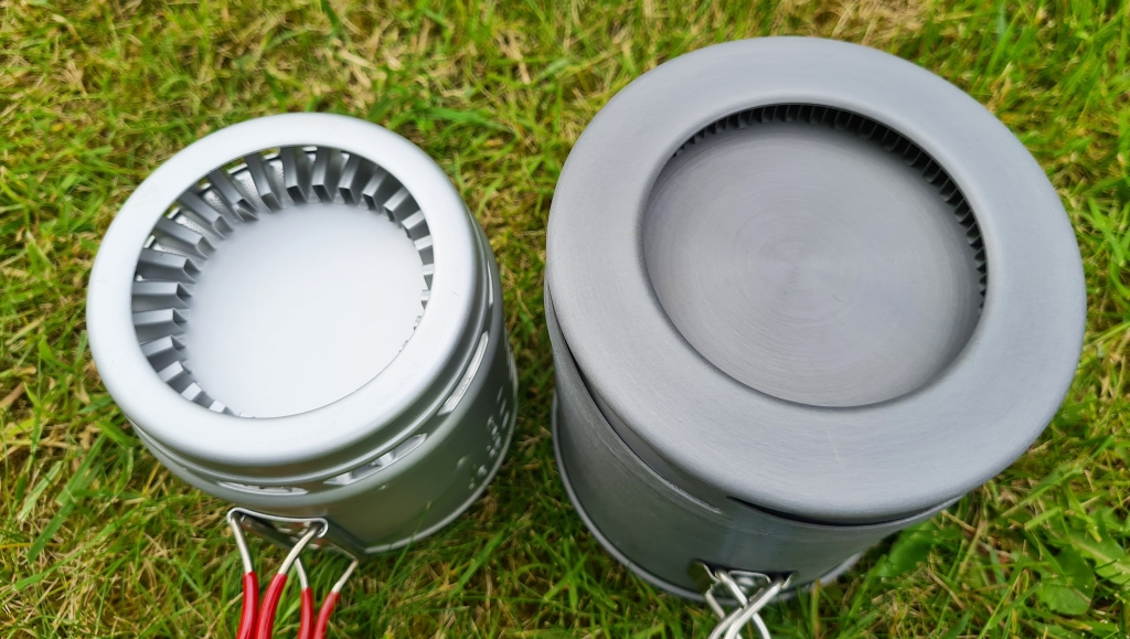 Base of two heat exchanger pots- Sterno Inferno on left, Olicamp XTS pot on right