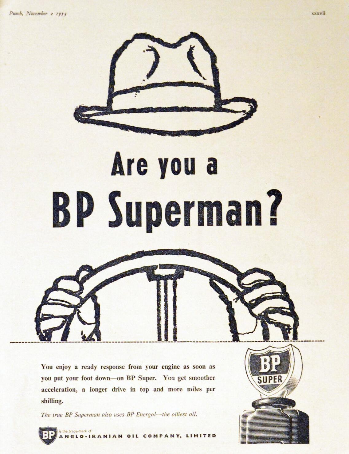 November 1953 advert in Punch, for BP Super fuel