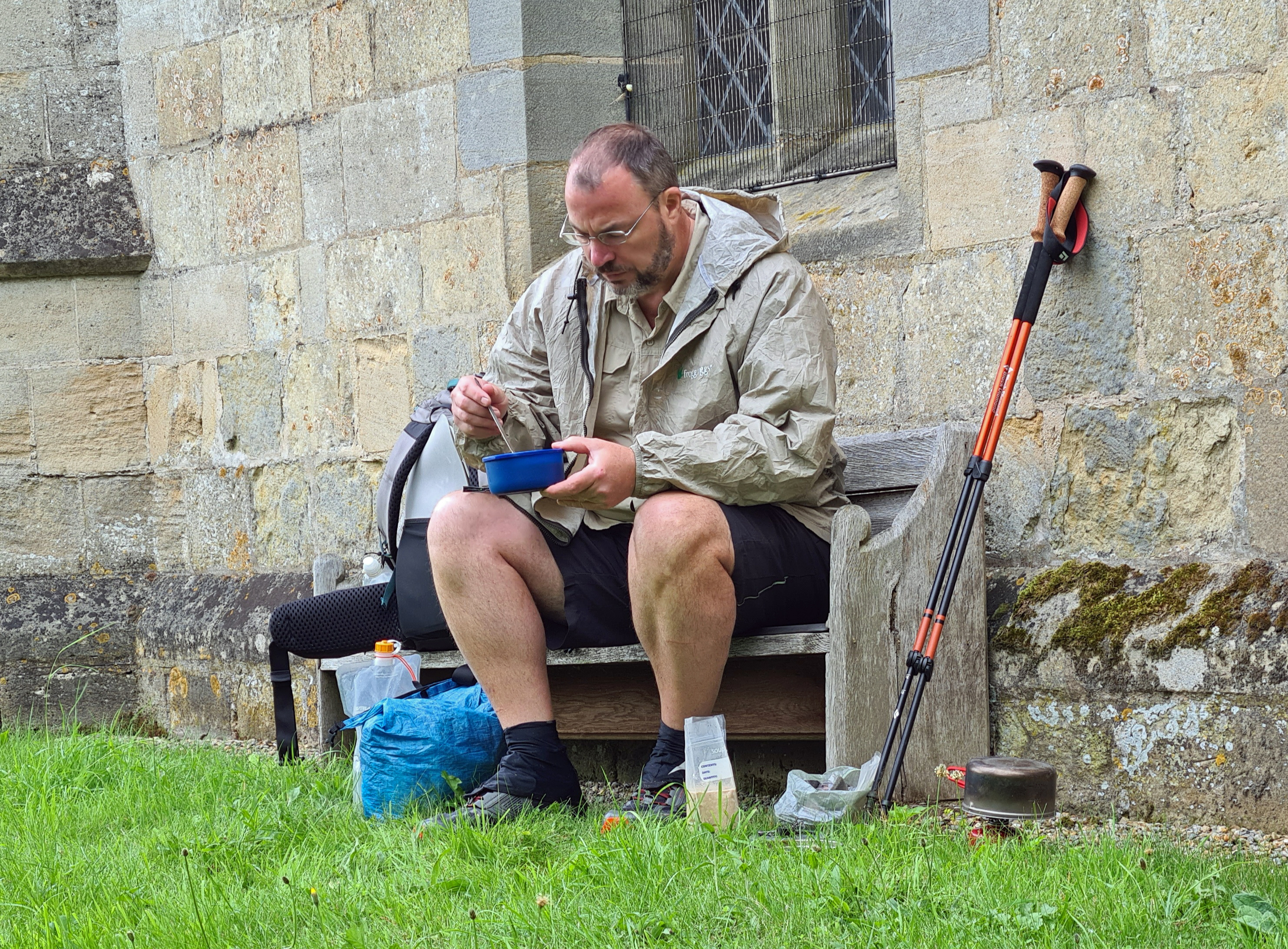 Village churches passed on many UK trails will frequently have a quiet bench tucked away where a halt for a meal can be taken. Mid-morning breakfast at Nunburnholm Church