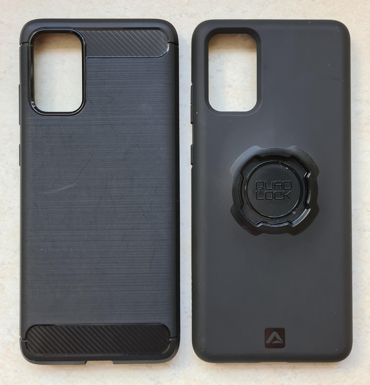 Exterior of Olixar case, left, and Quad Lock case, right