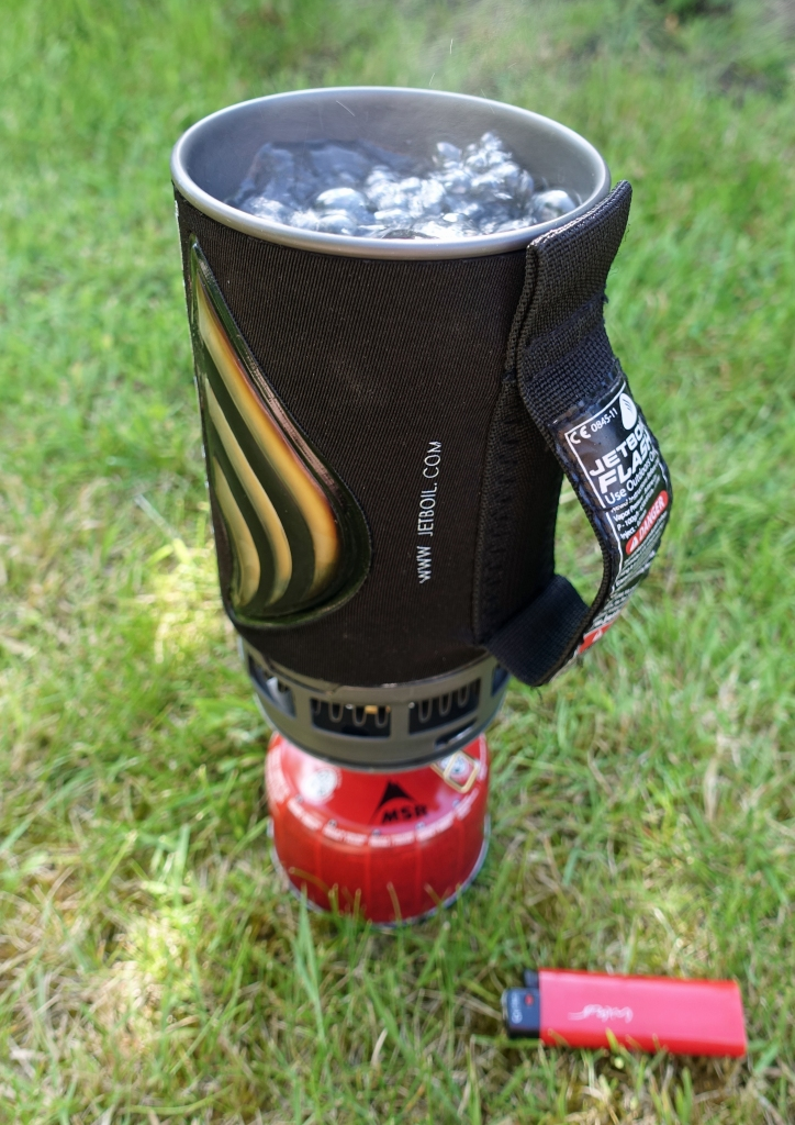 The Jetboil Flash pot makes for a tall and unsteady combination