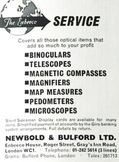 Newbold and Bulford advertisement, 1969