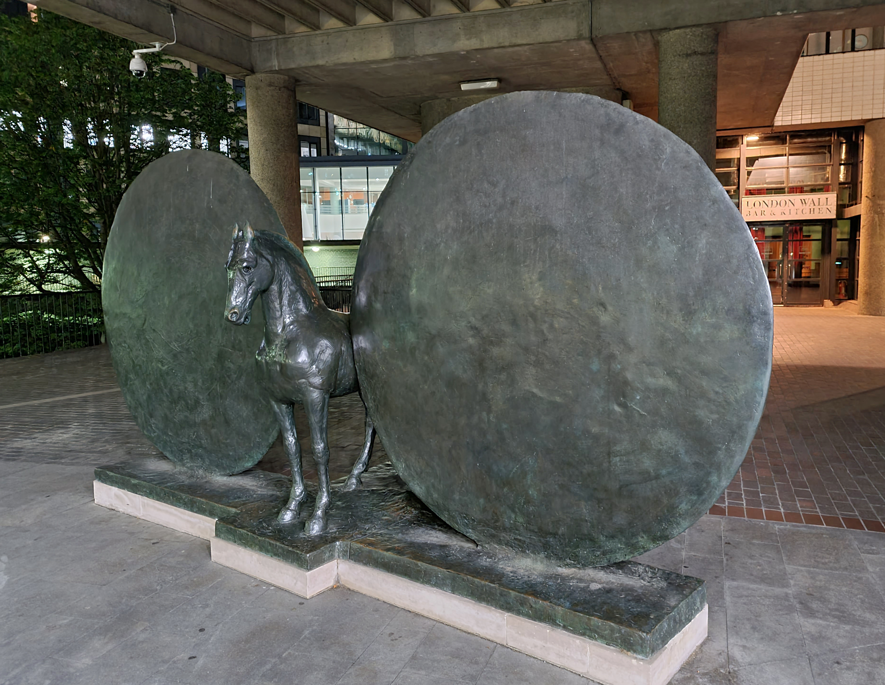 Union- Horse with Two Discs, by Christopher le Brun. Museum of London, Barbican. 2001