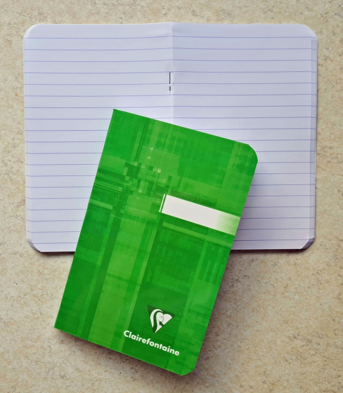 Clairefontaine. What's not to love about these notebooks?  A  3 pack for £6, bargain.  Fountain pen friendly to boot.  A pack of 3, various colours  9cm x 14cm  90gsm lined paper