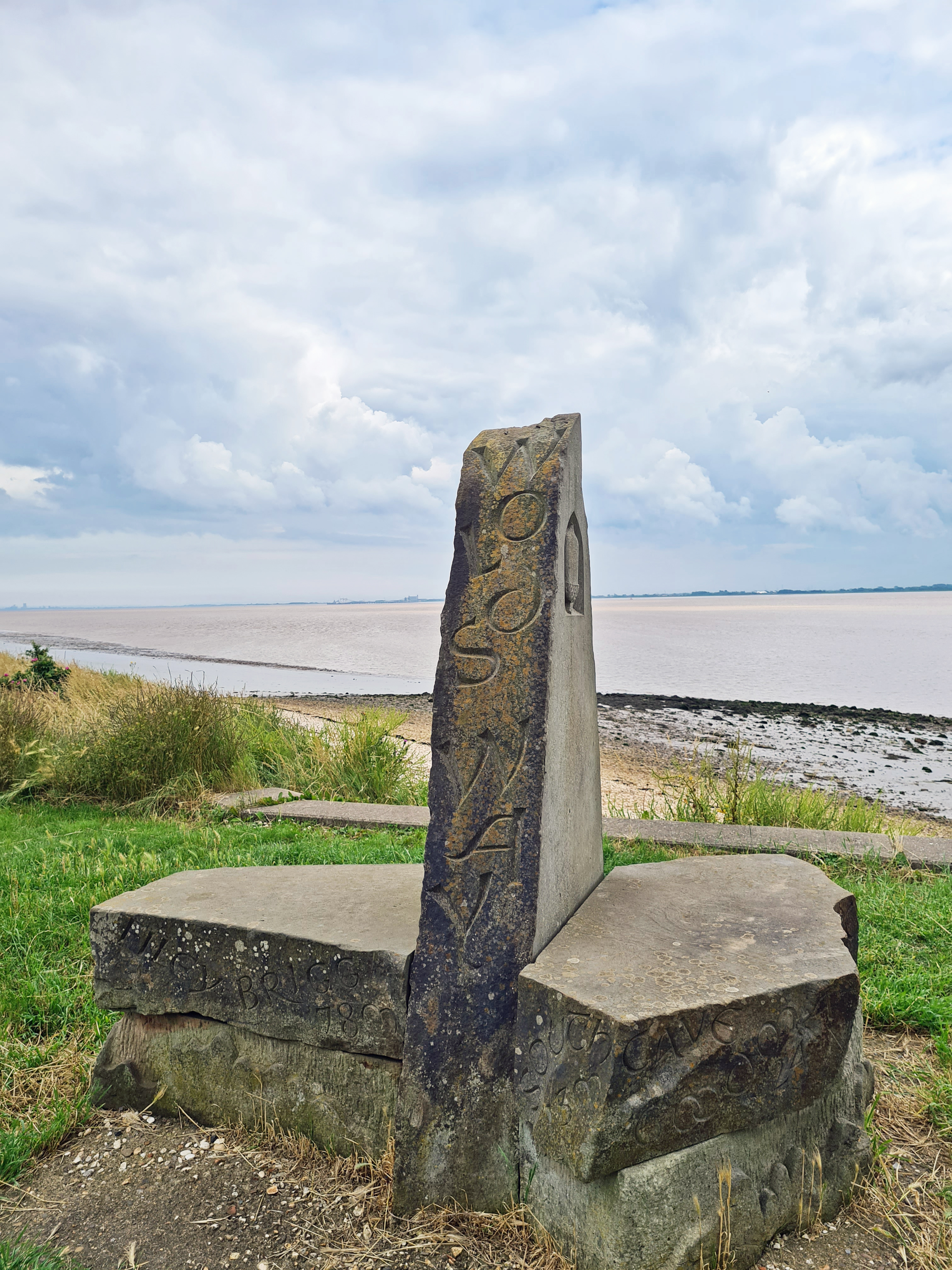 Many people walking the Yorkshire Wolds Way begin from the stone sculpture near the Humber Bridge