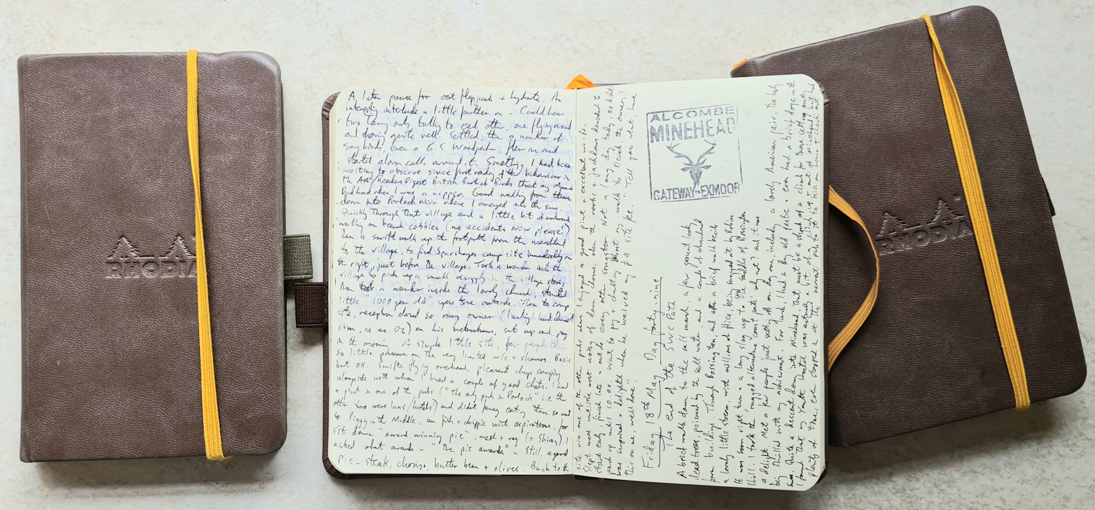 My 2000 mile hike across mainland Britain is recorded in three French made Rhodia Webbie Rhodiarama sketchbooks. I wanted something more robust to record my one hundred and fifty two days on trail. Each journal has 96 (192 faces) 140mm x 87mm 90gsm Clairefontaine plain ivory pages. The heavy hardback covers are slightly larger than the pages. These notebooks have a a gusset pocket inside the back cover, ribbon and elastic closure. I also fixed a pen loop to each volume