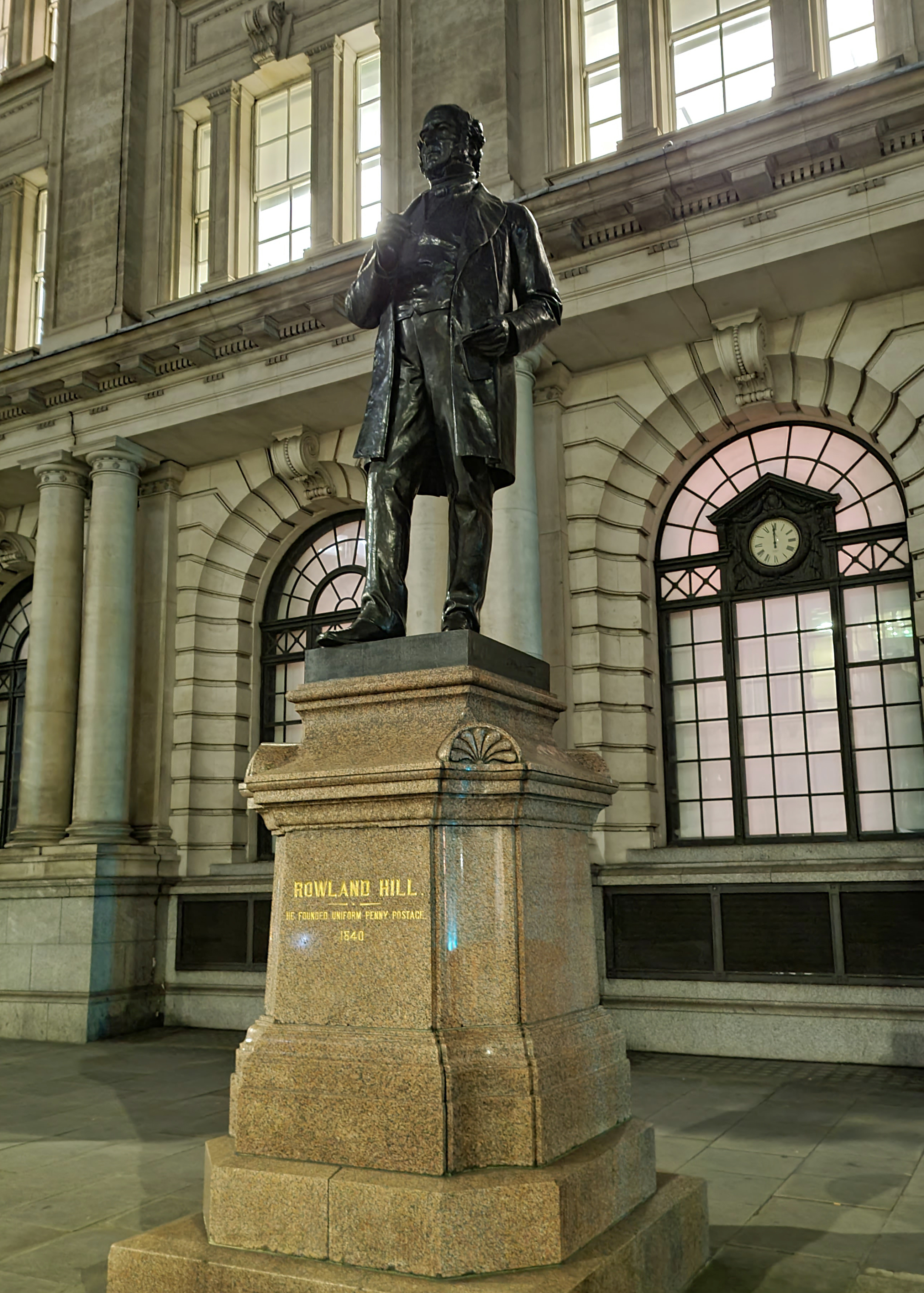 A statue of the great postal reformer Rowland Hill, was encountered on a night walk of the Jubilee Walkway