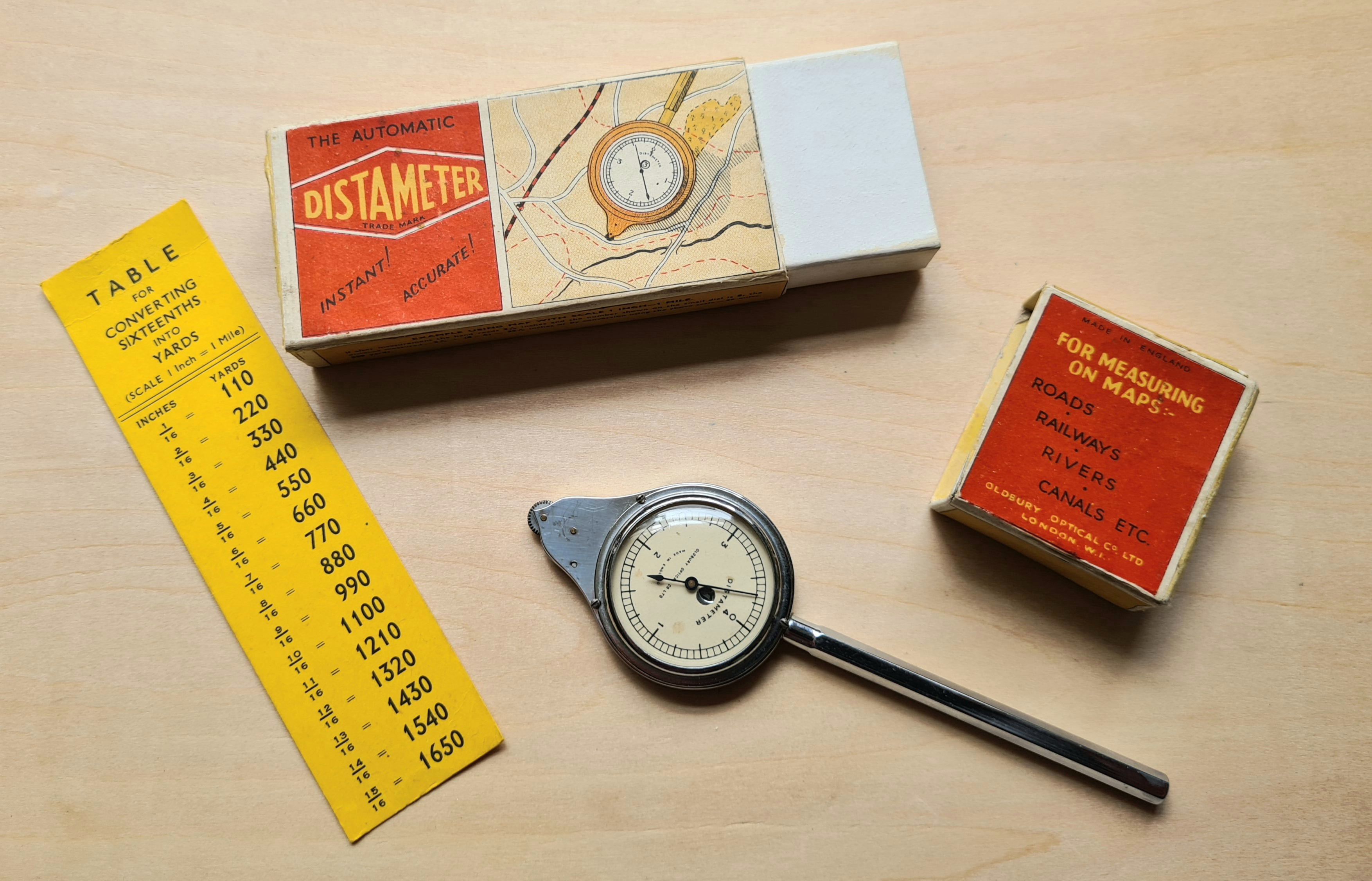 The Oldbury Optical Distamter came in a card box with slip lid and a small conversion table