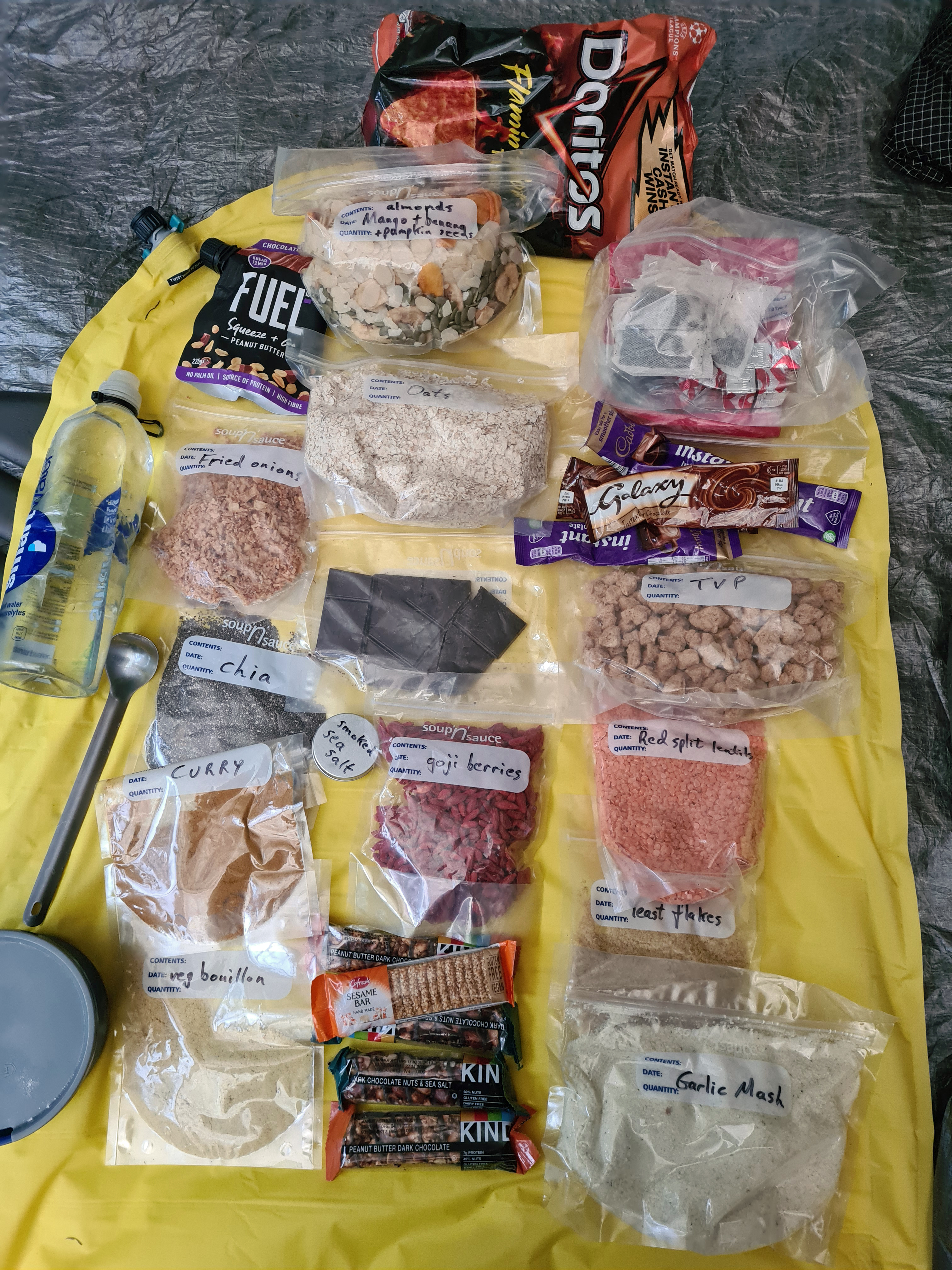 Food carried on the Speyside Way. Oxo cubes are tucked away with tea bags and dried milk powder, top right