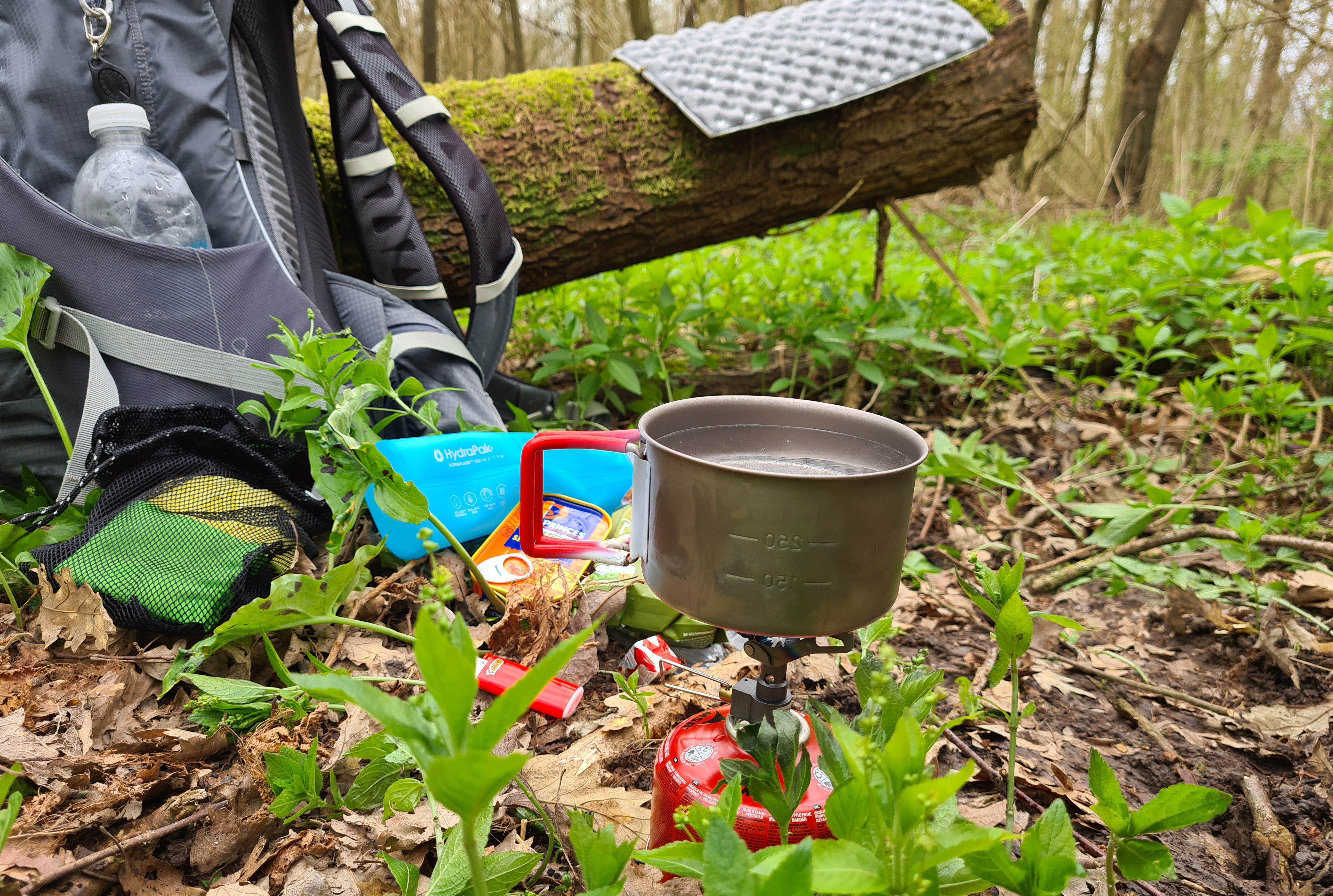 BRS 3000-T in use on a day hike on the North Downs Way. Paired with a small gas cartridge, 450ml Evernew titanium mug and mini Bic lighter, this makes one of the lightest and smallest cookset-ups possible