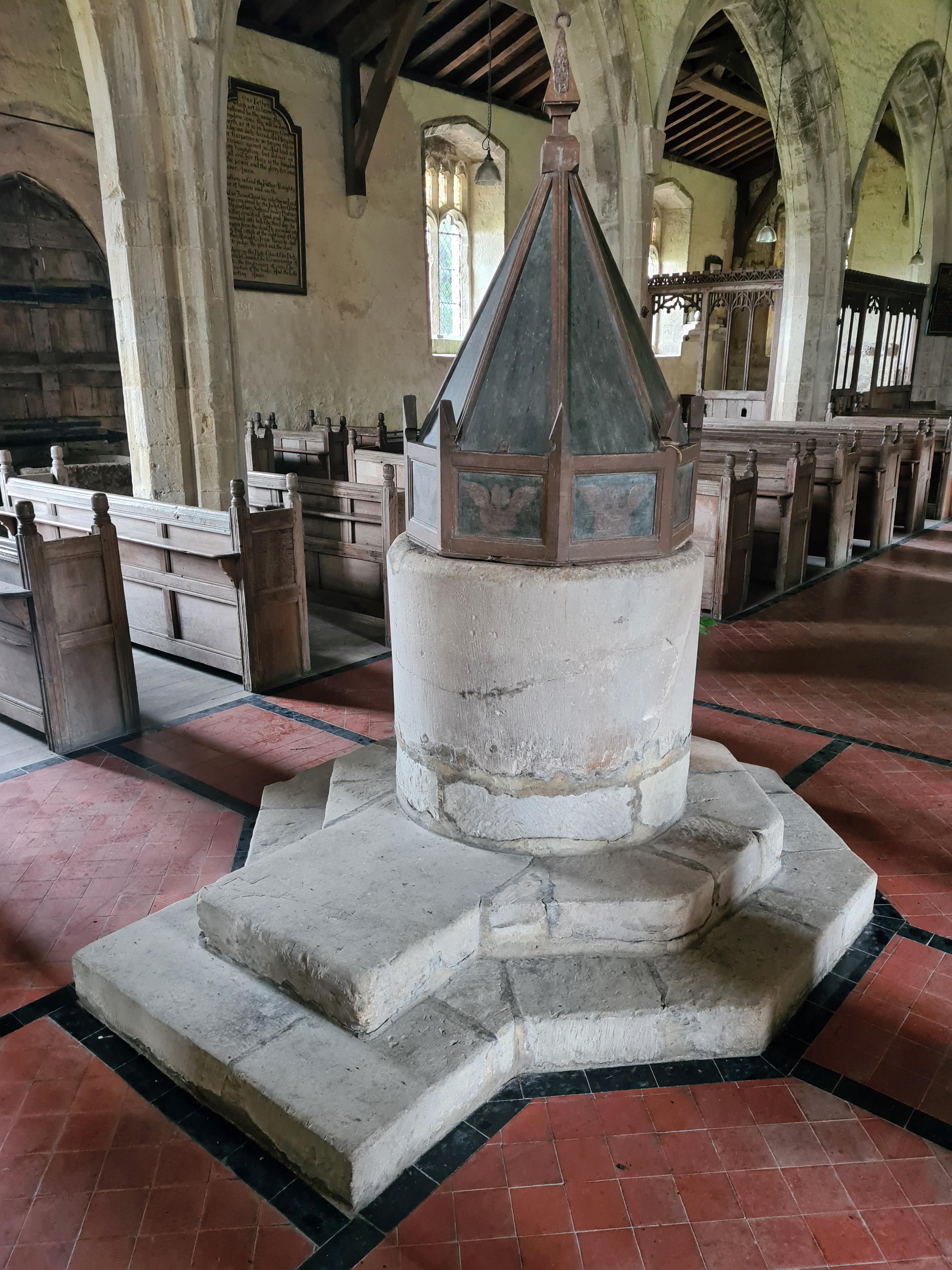 Limestone 'tub' Norman font