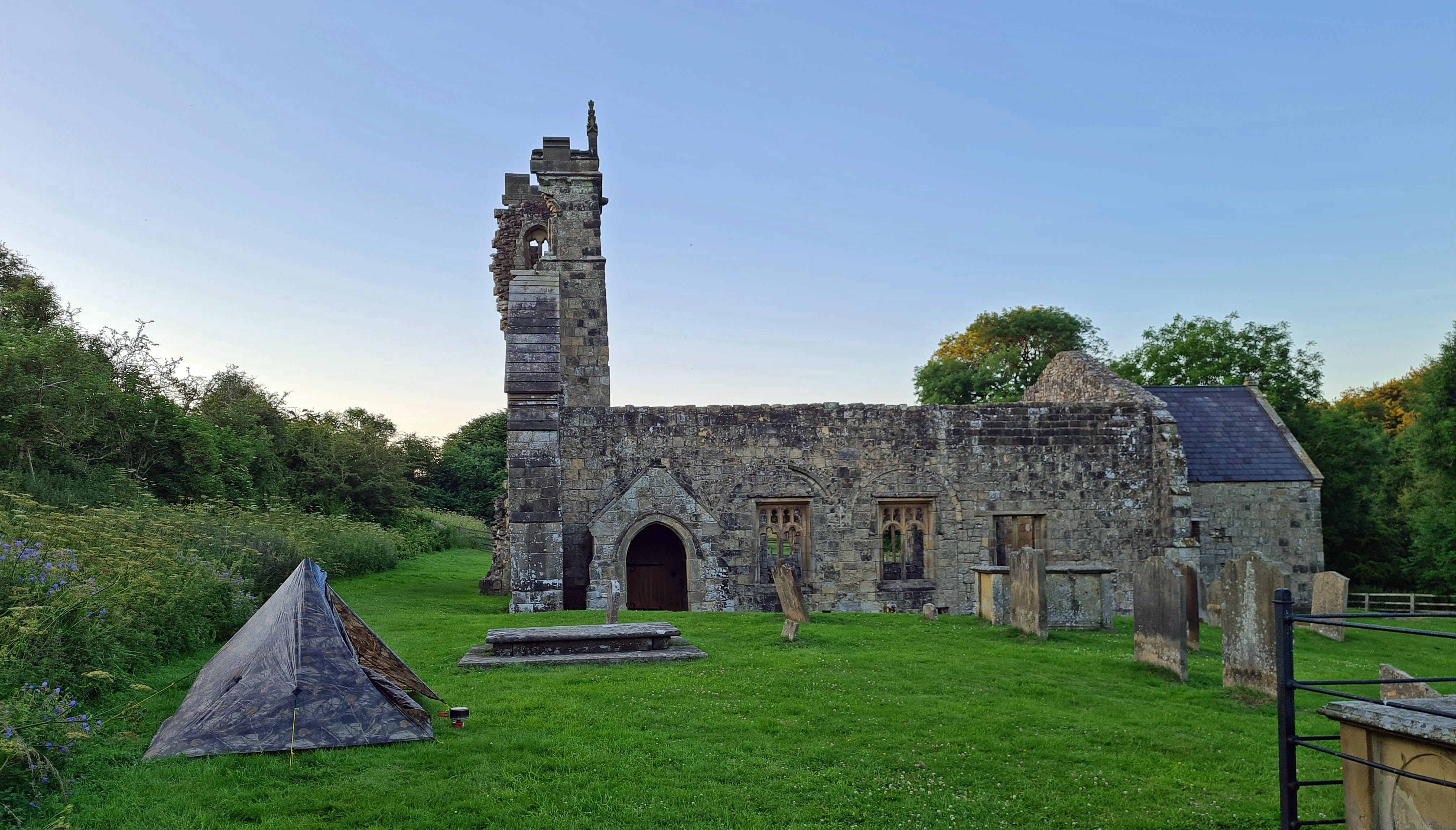 I arrived late enough at the medieval village of Wharram Percy that the day's visitors had all gone home. A good level pitch was found beside the ruined remains of the church, the best preserved element of this fascinating site. I found time in the evening's low light to join the Pipestrelles on the slopes above. Both to find a signal to message Mrs Three Points of the Compass, and to look around the outlines of the ancient dwellings once found there