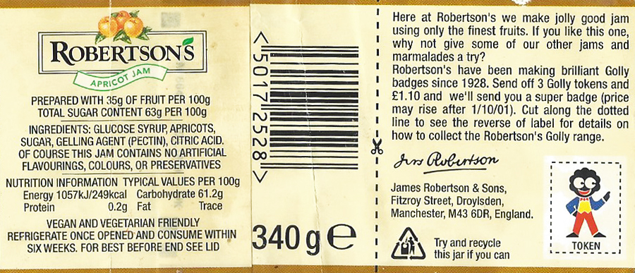 Label from rear of a jar of Robertson's Apricot Jam. Golly tokens were cut from these and sent in to claim a badge