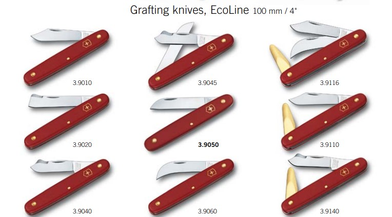 The basic range of horticultural knives from Victorinox