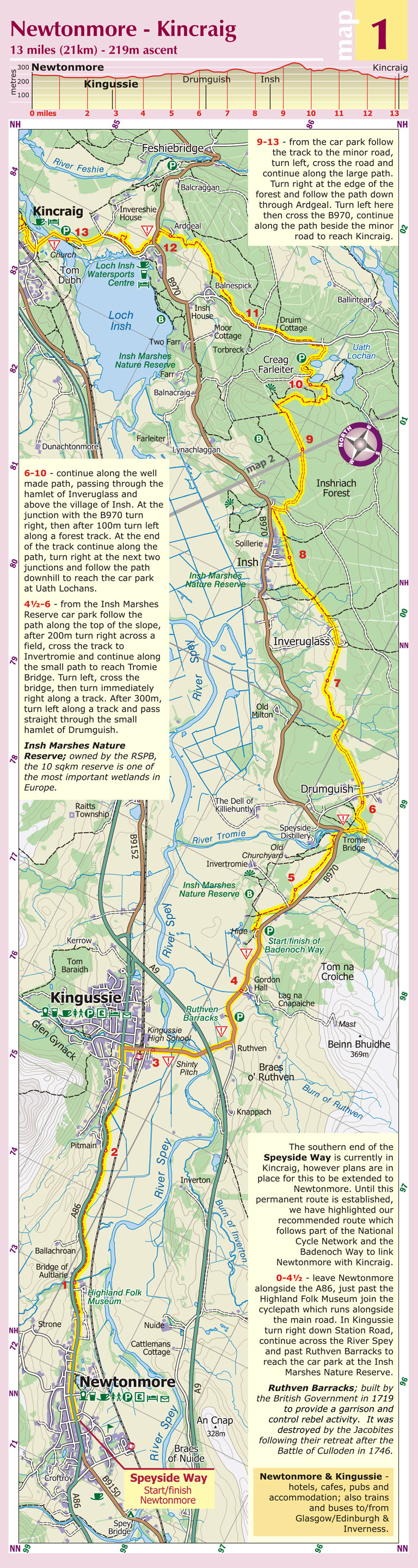 Newtonmore to Kincraig strip map from the excellent Footprint map for the Speyside Way