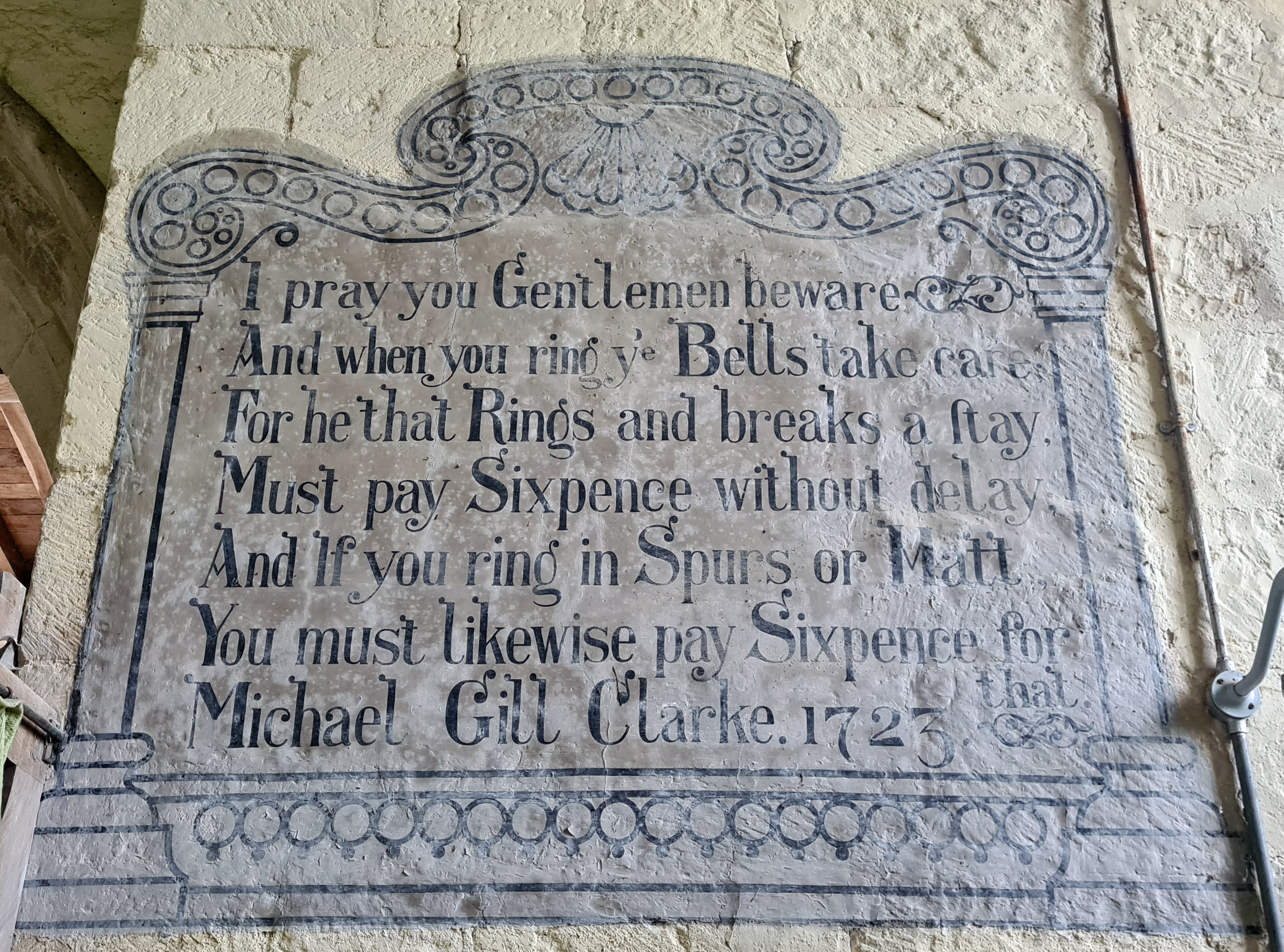 A warning to bell ringers at Wintringham church, dated 1723