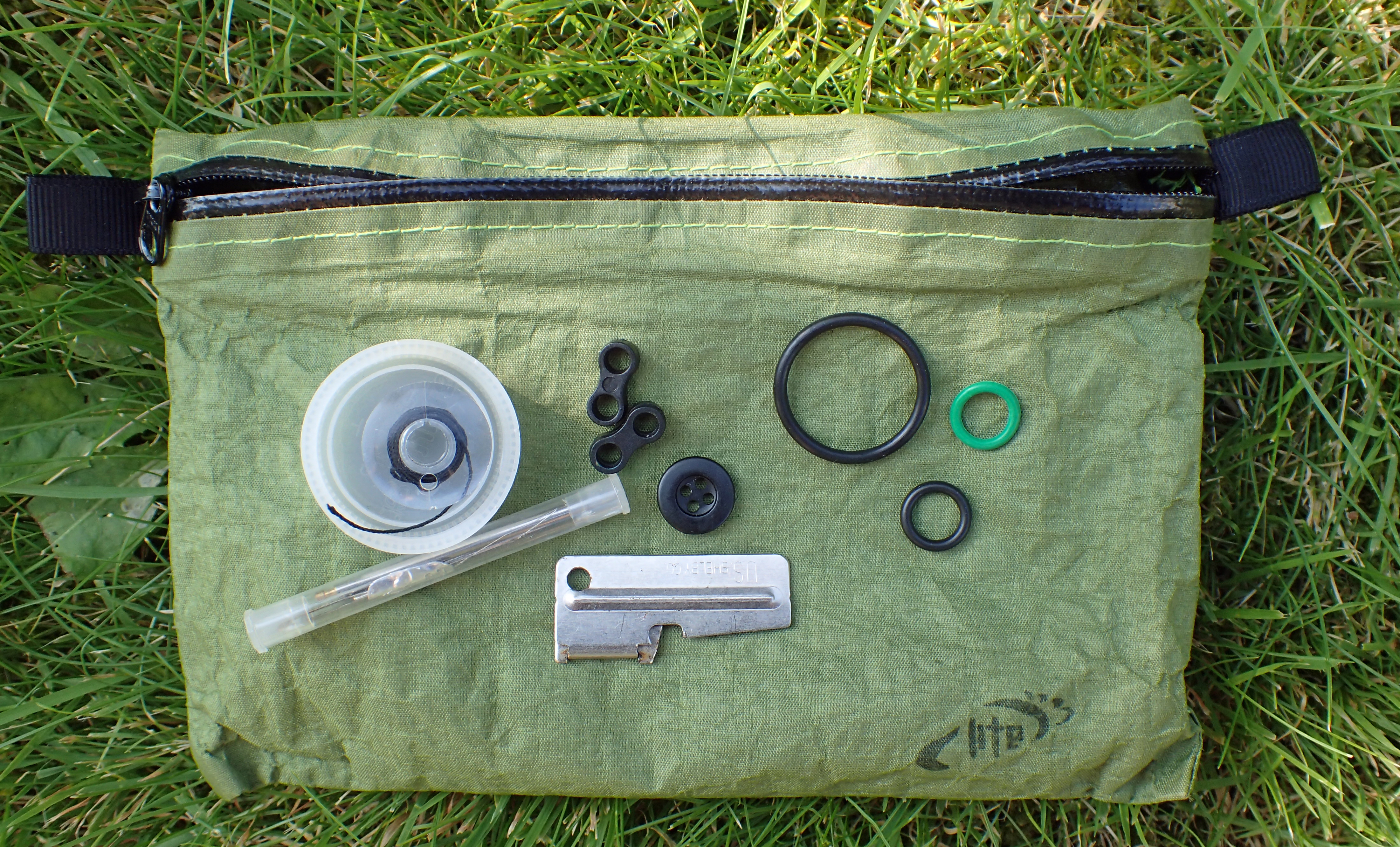 Ditty bag carried by Three Points of the Compass on trail contains replacement O-rings. For simplicity, these remain in here regardless of the stove being carried