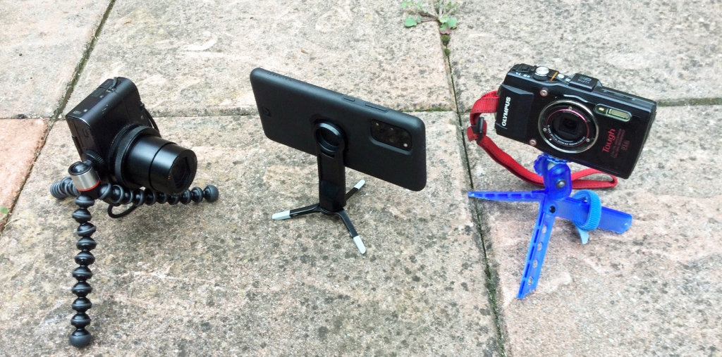 GorillaPod 325 with Sony RX100, Pedco Micro with Qual Lock tripod adapter attached to Samsung S20, UltraPod with Olympus TG-4