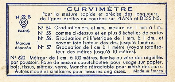 One side of small instructional leaflet included with the measure