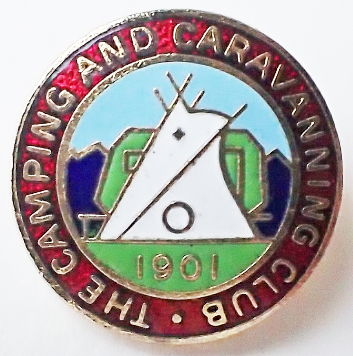 Enamel badge for The Camping and Caravanning Club, post-1983