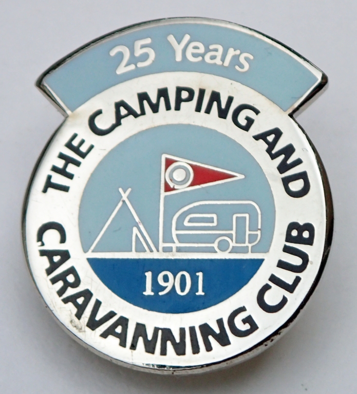25 Years membership of the Camping and Caravanning Club. Post 1983