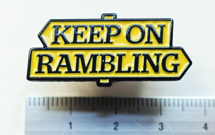 A 'Keep on Rambling' badge was produced by the RA and given away free in 2019 on the 70th anniversary of the 1949 National Parks and Access to the Countryside Act