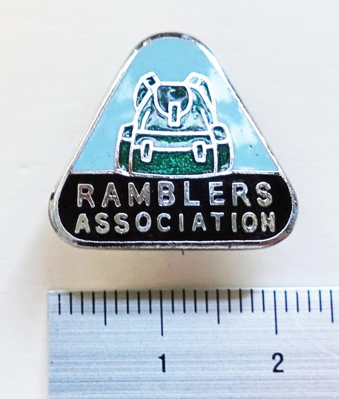 Ramblers Association badge,. 1950's - 1987. Enameled green Bergan rucksack above 'Ramblers Association' sans apostrophe. Chromium plated, enamelled