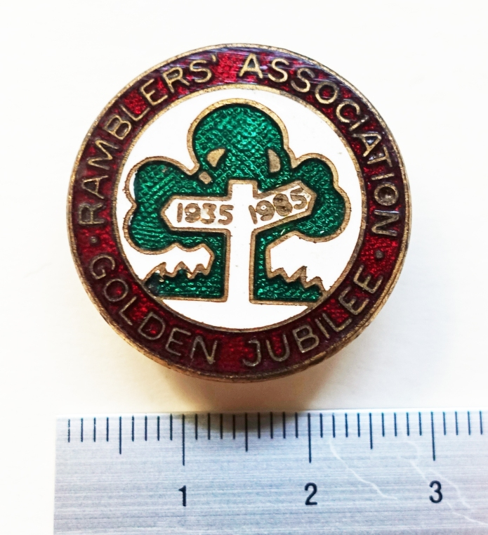 Ramblers' Association Golden Jubilee enamelled badge produced for the fiftieth anniversary in 1985