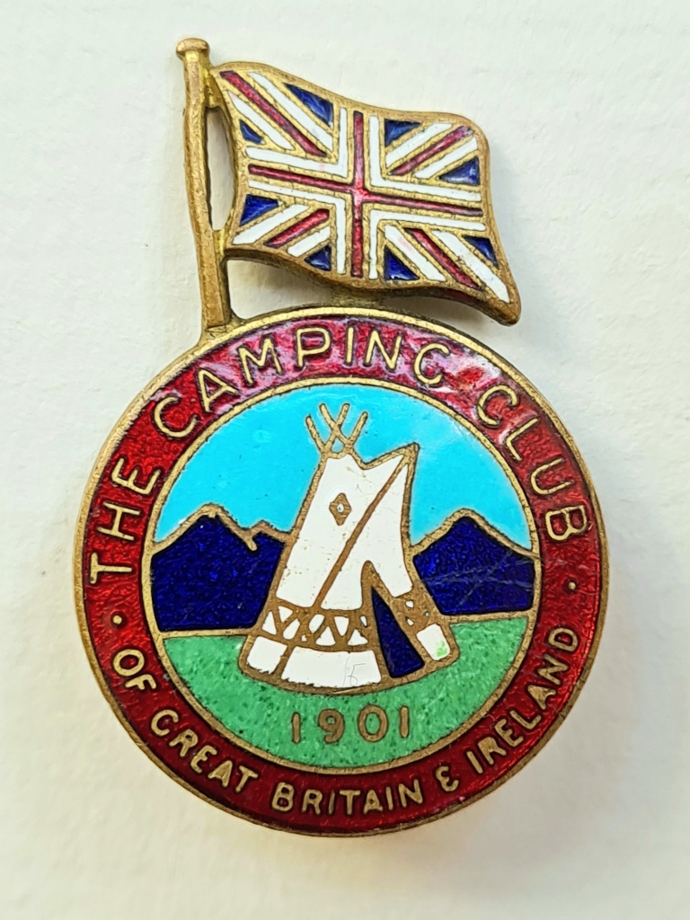 The Camping Club of Great Britain & Ireland. International enamelled badge for use at overseas rallies. 1950-1964.  Pin back. 23.30mm x 34mm. Maker- Gaunt