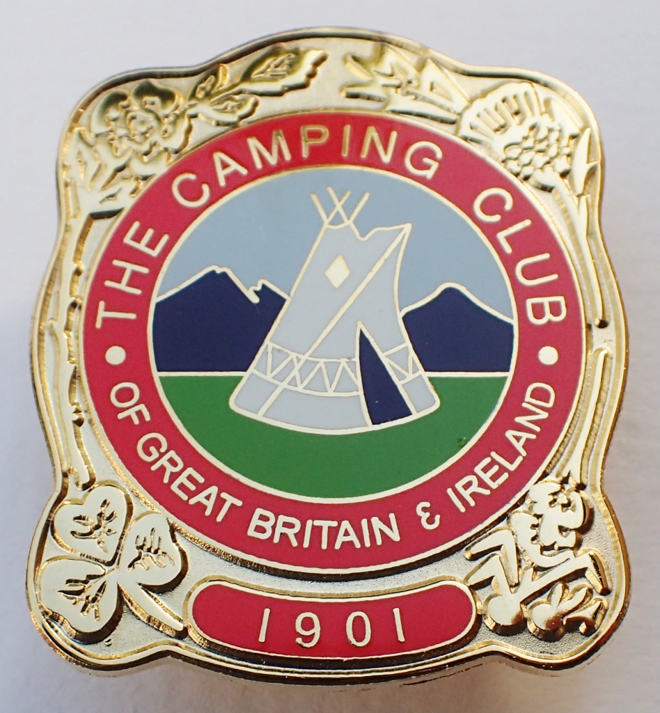 2001 reproduction badge by SMT Associates for the Camping & Caravanning Club. Butterfly clasp. 33mm x 40mm