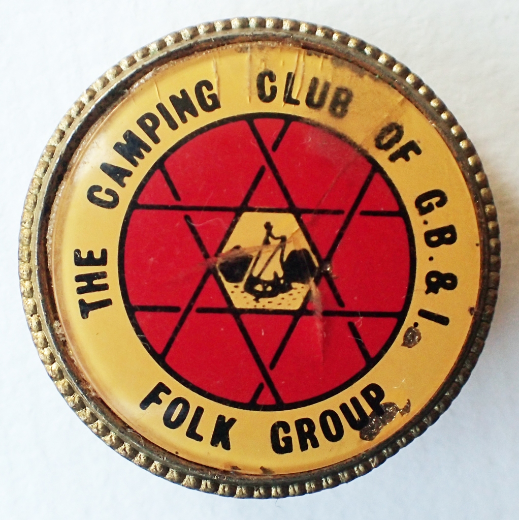 The Camping Club of G.B. & I. Folk Group. Acrylic on brass. Pin back. 29mm. No maker's name