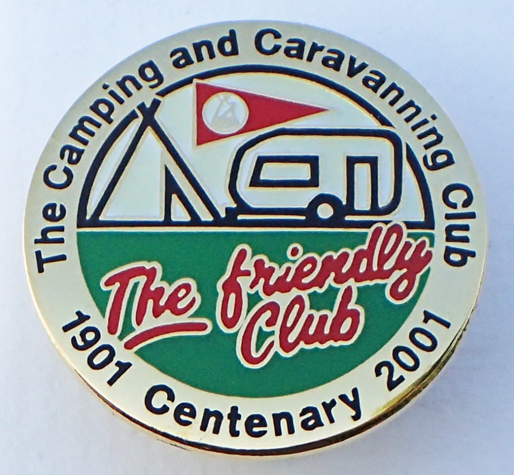 2001 reproduction badge by SMT Associates for the Camping & Caravanning Club. Butterfly clasp. 30mm
