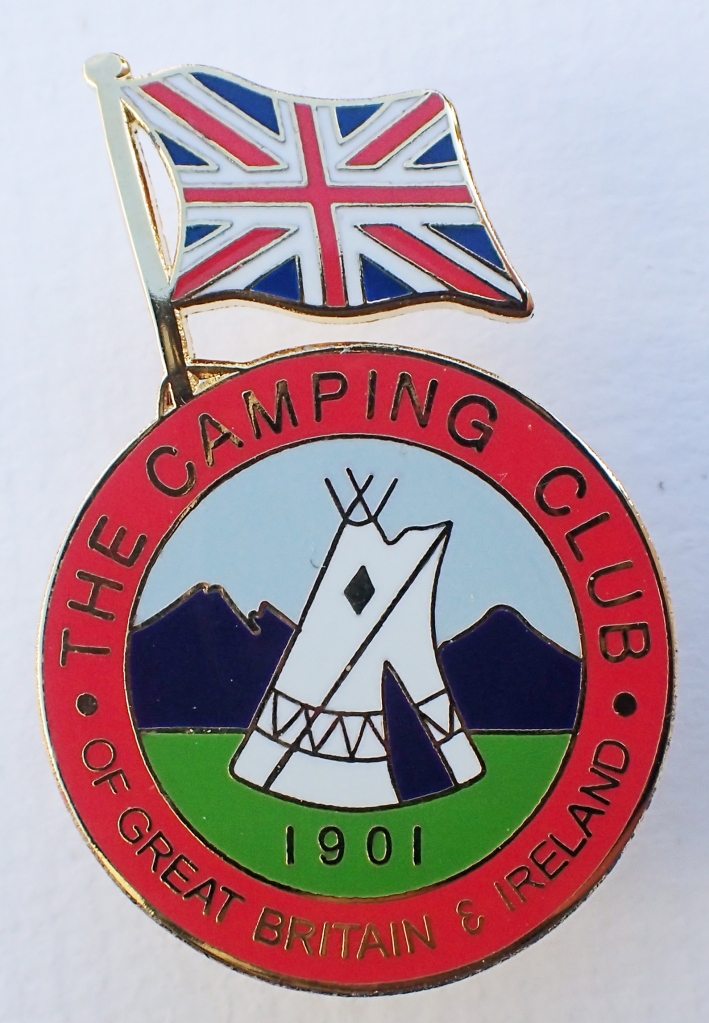 The Camping Club of Great Britain & Ireland. International enamelled badge for use at overseas rallies. 1950-1964.  Pin back. 29mm x 44mm. 2001 reproduction