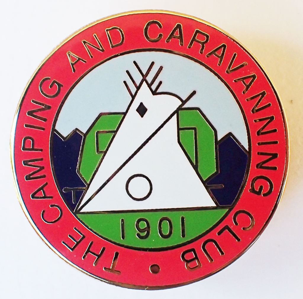 2001 reproduction badge by SMT Associates for the Camping & Caravanning Club. Butterfly clasp. 31mm